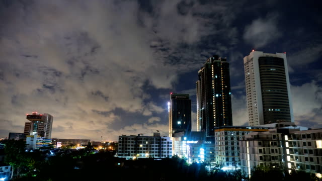 4k time-lapse wide shot: cityscape with cloud cover at night - damaged stock videos & royalty-free footage