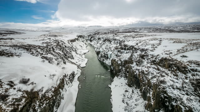 4K time-lapse:  Winter landscape, river and cliff at northern Iceland