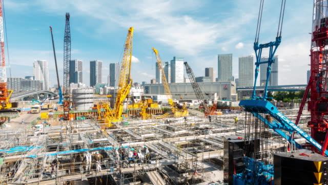 タイムラプス:東京の建設現場で働く - 工事点の映像素材/bロール