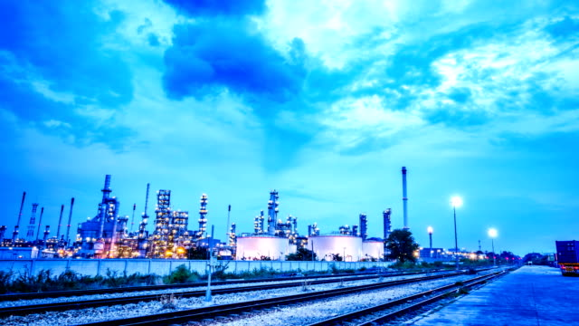 time-lapse: working at oil refinery plant - oil tanker stock videos and b-roll footage