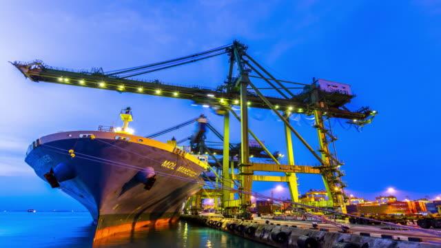4K time-lapse: Working at Singapore Shipyard Port Terminal morning twilight