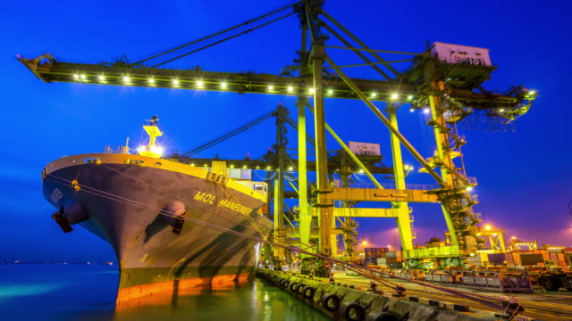 4 K Zeitraffer : Arbeiten in Singapur Werft Hafen Morgen in der Dämmerung