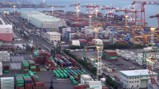 time-lapse: working at tokyo shipyard port terminal in odaiba japan - loading stock videos & royalty-free footage