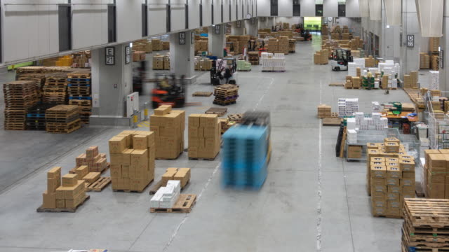 time-lapse: working movement in warehouse of toyosu new wholesale fish market in tokyo, japan. - forklift stock videos & royalty-free footage