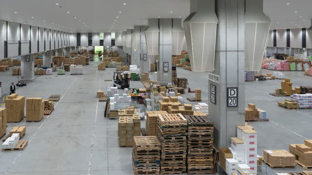 time-lapse: working movement in warehouse of toyosu, new wholesale fish market in tokyo, japan. - container stock videos & royalty-free footage