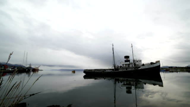 time-lapse :wreck vessel in the bay of ushuaia, argentina. - argentina stock videos & royalty-free footage