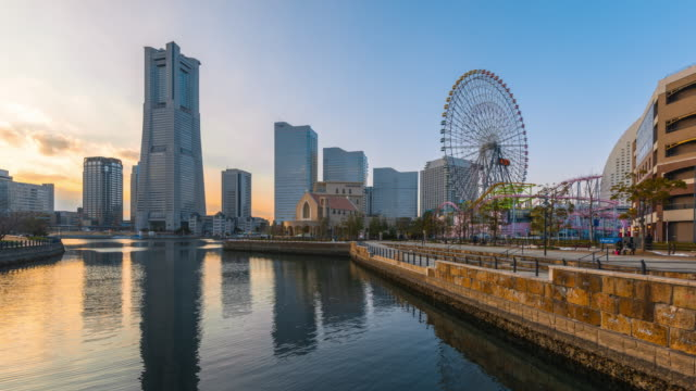 time-lapse: yokohama cityscape - yokohama stock videos and b-roll footage