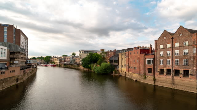 time-lapse:  york cityscape along river ouse, york yorkshire england uk. - yorkshire england stock videos & royalty-free footage