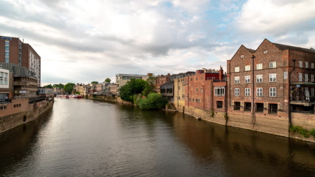 time-lapse:  york cityscape along river ouse, york yorkshire england uk. - river ouse stock videos & royalty-free footage