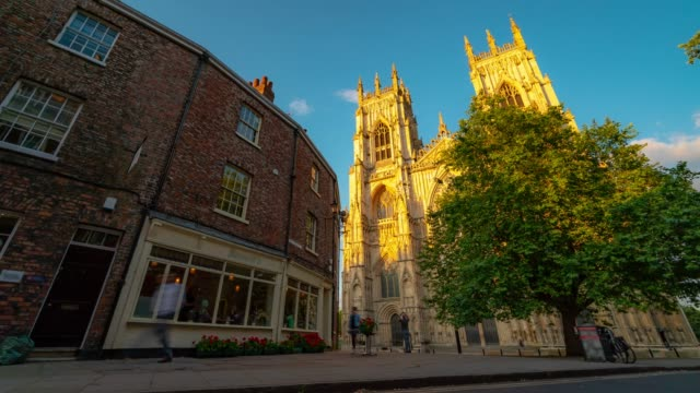 time-lapse: york minster cathedral sunset dusk, york, england uk. - english culture stock videos & royalty-free footage