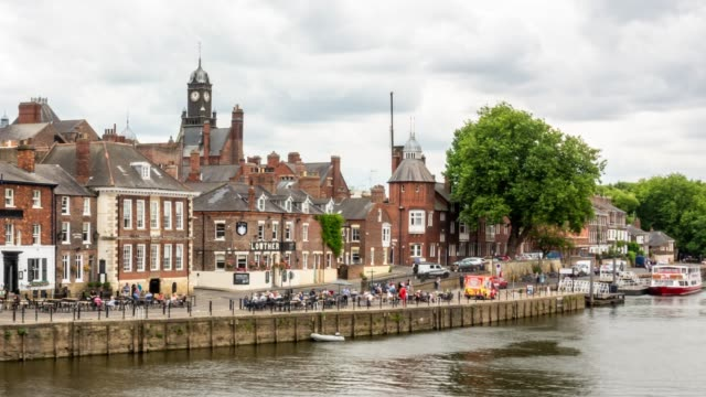 time-lapse:  york old town cityscape along river ouse, york yorkshire england uk. - uk stock videos & royalty-free footage