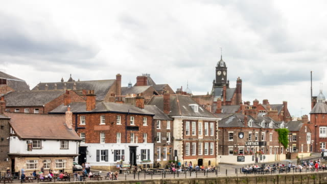time-lapse:  york old town cityscape along river ouse, york yorkshire england uk. - river ouse stock videos & royalty-free footage
