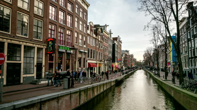 HD Time-lapse Zoom: Amsterdam Canal Red Light District, Netherland