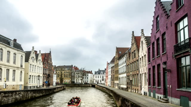 HD time-lapse zoom: Bruges Canal Belgium
