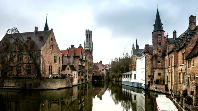 HD time-lapse zoom: Bruges Historic old town and Canal Belgium sunset