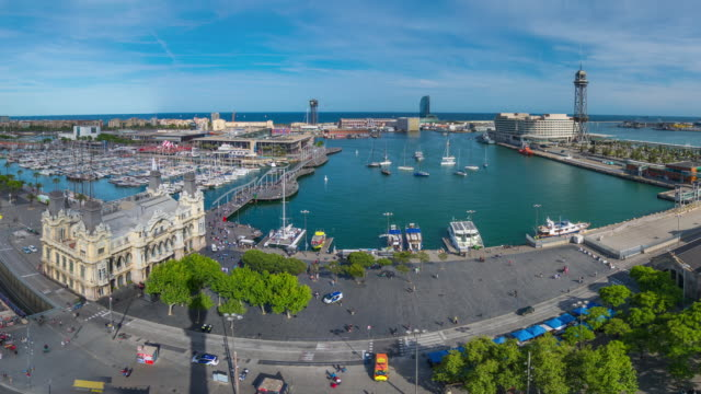Timelapse Zoom from Barcelona Marina then Following Cable Car, Spain