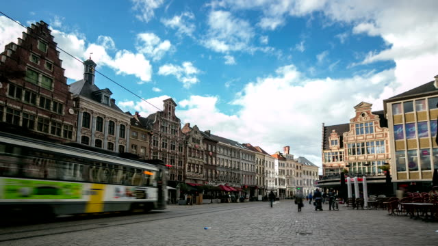 hd time-lapse zoom: ghent ancient town belgium - tram stock videos & royalty-free footage