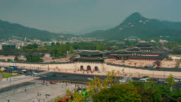 Timelapse zoom in shot of Gyeongbokgung Palace  with blue sky and clouds at Seoul city, South Korea.