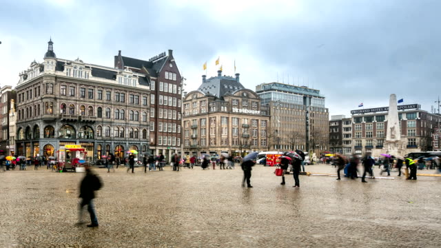 HD Time-lapse Zoom out: City Pedestrian and Dam Square Amsterdam