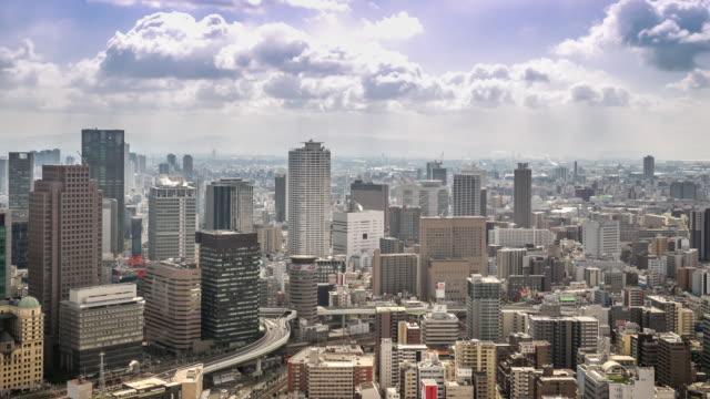 4K Time-lapse:Aerial Osaka Cityscape in action