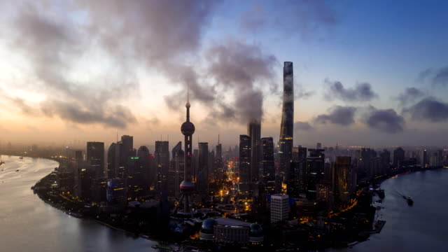 4k timelapse-aerial photo of sunrise panoramic skyline  shanghai china - china east asia stock videos & royalty-free footage
