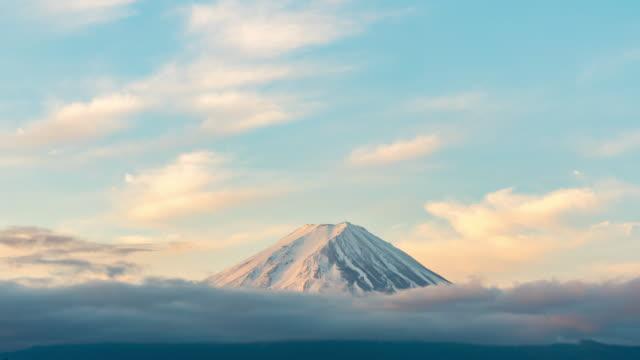 タイムラプス:川口湖の富士山日の出の夜明け - 山梨県点の映像素材/bロール