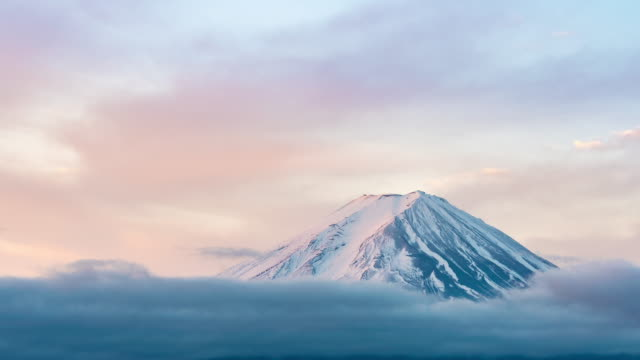 time-lapse:aerial view fujisan mountain sunrise dawn at kawaguchiko lake - mt fuji stock videos & royalty-free footage