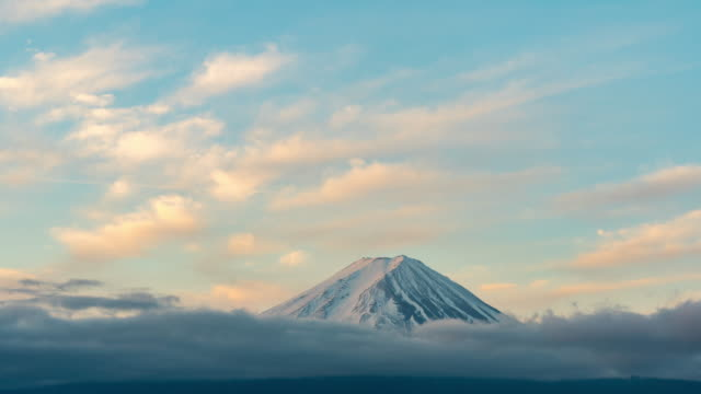 time-lapse:aerial view fujisan mountain sunrise dawn at kawaguchiko lake - tall high stock videos & royalty-free footage