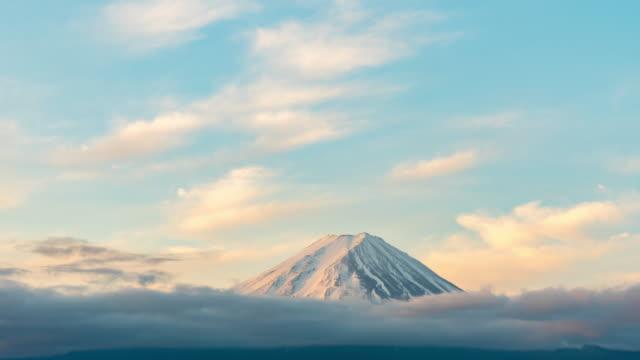 time-lapse:aerial view fujisan mountain sunrise dawn at kawaguchiko lake - winter stock videos & royalty-free footage