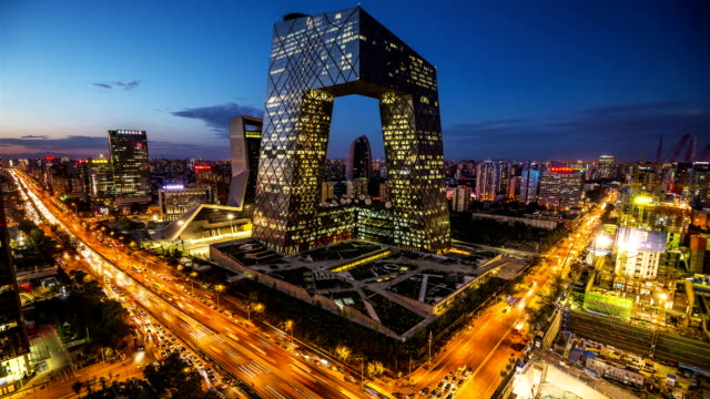 TimeLapse-Beijing Central Business district gebouwen skyline, China stadsgezicht