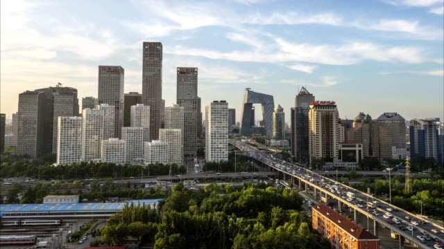 timelapse-beijing central business district buildings skyline - beijing stock videos & royalty-free footage