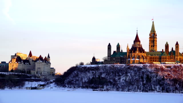 time-lapse:canadian parliament hill viewed from across ottawa river during - ottawa stock videos & royalty-free footage