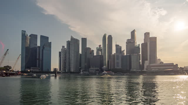 timelapse:central business district building of singapore city - day stock videos & royalty-free footage
