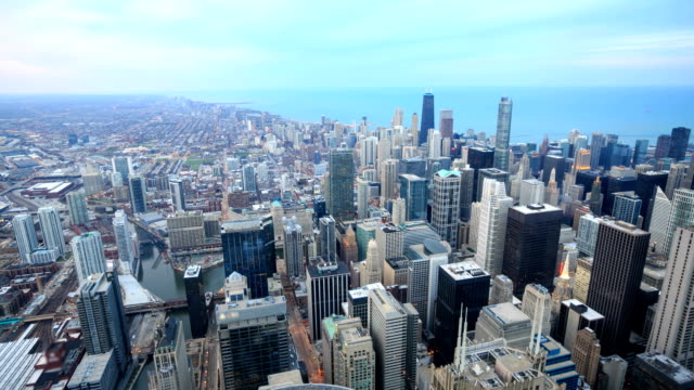 hd time-lapse:chicago skyline - chicago loop stock videos and b-roll footage