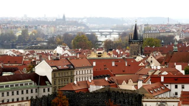 time-lapse:cityscape of prague in autumnal morning (prague, czech republic) - czech republic stock videos & royalty-free footage