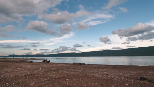 timelapse,clouds moving over the reservoir. - flowing water stock videos & royalty-free footage