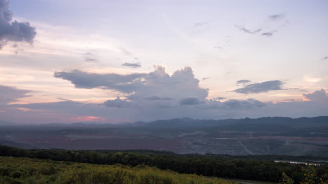 Time-lapse:colorful dramatic sky with cloud at sunset