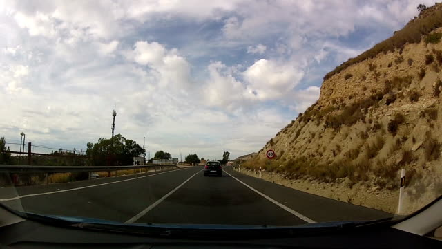 Timelapsed drive over a highway in spain