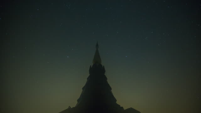 4K Time-lapsed of Stars Sky Turning Space Astrophotography on Pagoda