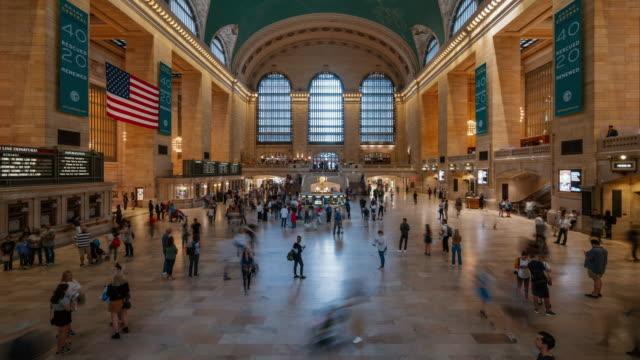stockvideo's en b-roll-footage met time-lapse:grand central station, new york city, vs - metro passagierstrein