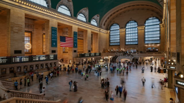time-lapse:grand central station, new york city, usa - grand central station manhattan stock videos & royalty-free footage