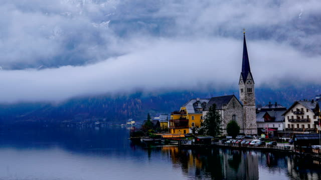 time-lapse:hallstatt austria lake hallstattersee with quiet blue - church stock videos & royalty-free footage