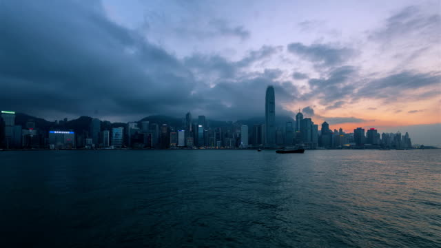 Timelapse-Hong Kong financial district at twilight