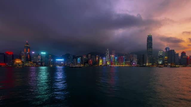 Timelapse-Hong Kong finanzielle Landkreis in der Dämmerung