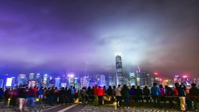 4 k time -lapse.hong 香港ビクトリアハーバー - ビクトリアピーク点の映像素材/bロール