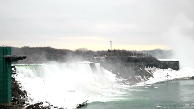 HD Time-lapse:Niagara Falls In Mid Winter