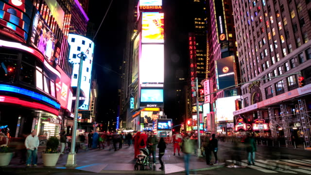hd time-lapse:night times square, new york city - times square manhattan stock videos & royalty-free footage