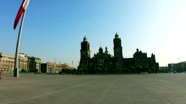 time-lapse:panoramic view of zocalo and cathedral - zocalo mexico city stock videos & royalty-free footage