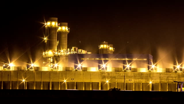 Timelapse:power plant at night