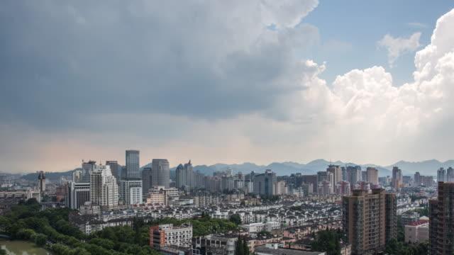 4K Time-lapse:Rain passing through Hangzhou skyline,Zhejiang,China